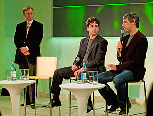 Photo of Chairman of Google Eric Schmidt with Sergey Brin and Larry Page via Wikipedia.