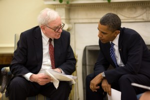 Warren Buffett advises President Obama, image via Wikipedia
